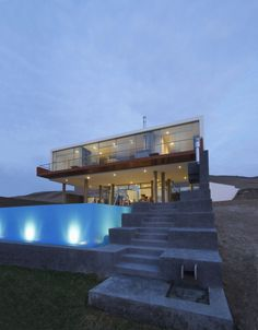 Lima-based practice Longhi Architects has completed the Casa Q Project in 2010.  The 4,350 square-foot contemporary beach house is located on Misterio beach, 72 miles (117 kilometers) South of Lima, Peru. 2