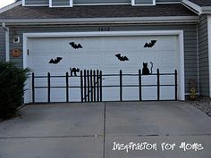 spooky garage door silhouette