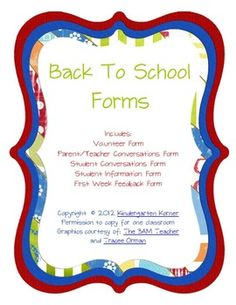 5 Back to School Forms