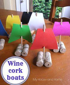 DIY Wine Cork Boats - Tutorial at ThinkCrafts.com
