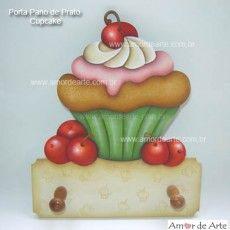 Porta Pano de Prato Cupcake - Amor de Arte