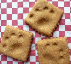 A perfect recipe for the peanut butter lover in your dog!  If you don't have a bone shaped cookie cutter, this shape works great.  Just cut out with pie crust tool to get the rough little edges.  (Reminds me of the look of cheez-its snack crackers)  Hmmm... now I'm getting more ideas... omit the peanut butter and add cheddar cheese!  Your dog will love it!