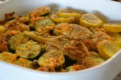 Baked Summer Squash recipe  •2 yellow summer squash  •2 zucchinis  •2-3 tablespoons olive oil  •1/3 cup bread crumbs  •1/3 cup grated sharp cheddar cheese  •1/2 teaspoon salt  •1/2 teaspoon pepper  •1 teaspoon oregano  •1 teaspoon parsley  •1 teaspoon rosemary