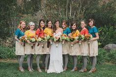 Colorful handmade bridesmaids dresses