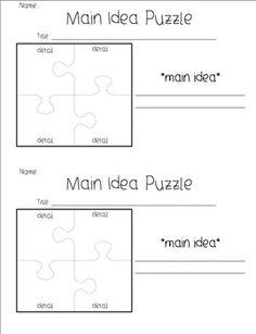Main Idea/ Details Graphic Organizers.