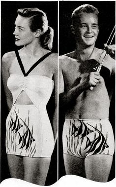 His & hers matching Catalina angel fish bathing swim suits... by Katrinka Sweaters, via Flickr