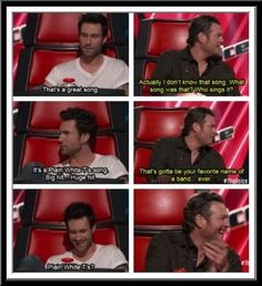 Adam Levine  Blake Shelton He is so funny love to see him pick on Adam Levine !