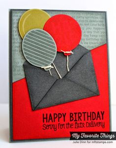 Happy Birthday Background, Party Balloons stamp set and Die-namics, You've Got Mail stamp set and Die-namics, Party Balloons Die-namics - Julie Dinn #mftstamps