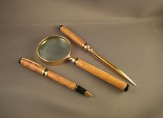 Classic Letter Opener - Magnifying Glass - Twist Pen Set - Afzelia Lay Wood