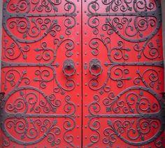 church door, stunning colour and iron work