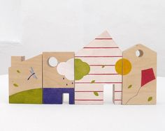 Wooden baby toy, eco-friendly, houses blocks toy