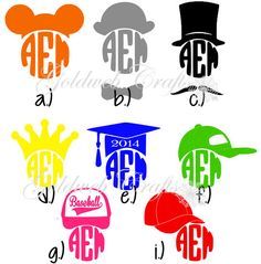 Monogram Vinyl Car Decal with Mickey Ears by GoldWebCrafts on Etsy, $5.00 Maisie get the bowler or top hat with FeL                          And if you don't get that ^ I'm mad at you