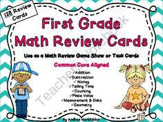 First Grade Math Review Game from Tricks of the Trade in First Grade on TeachersNotebook.com -  (66 pages)  - You will find 128 Math Review Cards in this pack! Make learning fun by playing this game!
