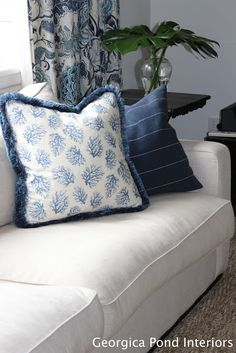 GEORGICA POND INTERIORS - our living room, blue and white, Hamptons style, cushions