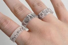 Rings made out of shrink plastic and sharpies