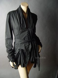 VICTORIAN Steampunk Gathered Tailcoat Top  Shirt $32.95