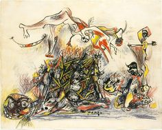 Jackson Pollock - War, 1947. Ink and colored pencil on paper.