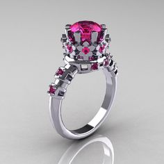 Modern Vintage 14K White Gold 1.5 Carat Pink by artmasters on Etsy, $1399.00