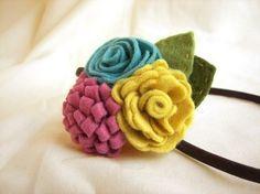 Wool felt flowers headband