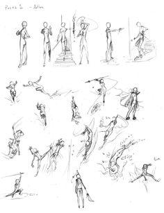 Action Poses for Females by  RiyokuSakimori on deviantART MoreAction Poses Staff