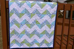 baby boy quilts, blue, peter pan collars, color chevron, chevron quilt