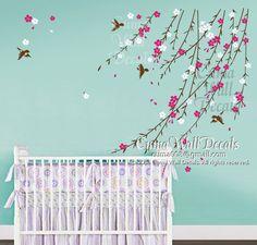 baby girl flower wall decal Nursery wall decal and birds by cuma, $48.00