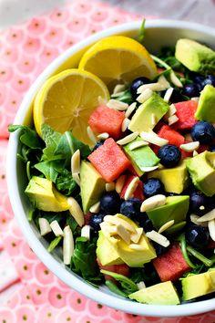 Blueberry Watermelon Salad with Lemon Ginger Dressing Pinned Via: Carolina Girl Cooks http://www.carolinagirlcooks.com/blueberry-watermelon-salad-with-lemon-ginger-dressing/