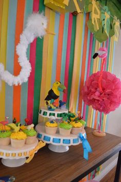 """Colorful """"Bird"""" Birthday Party!  See more party ideas at CatchMyParty.com!"""