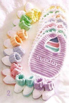 Crochet Baby Bib Patterns | Crochet Baby Bibs Booties Sets New Pattern by LittleAdorables