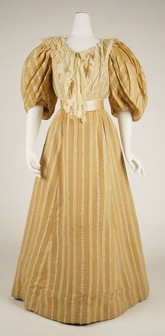 Striped afternoon dress (front, without detachable lower sleeves and chiffon dickie), American, 1890s.