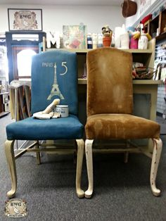 Before and after picture of fabric painted in Chalk Paint®by Annie Sloan in Aubusson Blue, Stenciled by Royal Design Stencils and waxed.