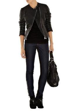 Karen Millen way expensive quilted leather biker jacket.