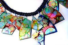 clay, cdart, craft, jewelleri, necklac, collars, diy, recycl cdscasesand, jewelri