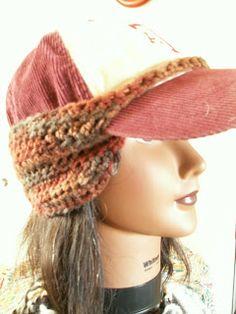 A basic crochet pattern for baseball cap ear warmer.