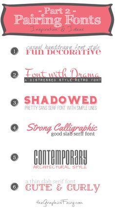 Another set of great Font Pairings with Free Fonts! I love these because they take the guess work out of what fonts to use when making Printables!