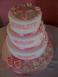 A christening cake for 3 girls design cake, christening cakes, christen cake