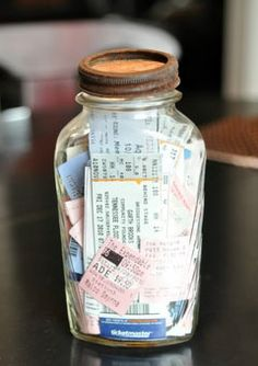 Cute stuff even for friends.  40 DIY Valentine Gift Ideas for Boyfriend  Husbands - Ticket Memory Jar.