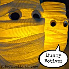 Make these cute Mummy Votives for Halloween - I love how they glow! eclecticallyvintage.com