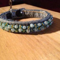 Beaded Denim Bracelet