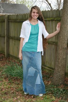Ladies Long Jean Skirt Size 10 by whimsicaljeansnsuch on Etsy, $40.00