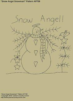 Snow Angel Snowman Primitive Stitchery by JoAnnCountryCorner, $2.00