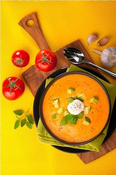 Tomato Basil Soup with avocado
