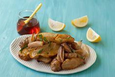 Honey-roasted sunchokes with shallots and Meyer lemon from Recipe Renovator
