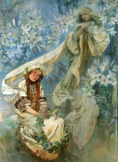 Madonna of the Lilies  1905  tempera on canvas  247 x 182  In 1902 Mucha was asked to decorate a church in Jerusalem dedicated to the Virgin Mary. The project was later cancelled but not before Mucha had created this painting. Mucha called the subject Virgo purissima and surrounded the heavenly vision of the Madonna with a mass of lilies, symbol of purity. The seated young girl in traditional costume carries a wreath of ivy leaves, symbol of remembrance. Her serious expression and strong phys...