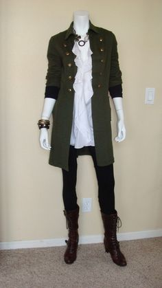 Daily Look: CAbi Fall '12 Ponte Legging with vintage Ruffle Tunic and Cavillari Jacket and Ballet Arm Warmers.