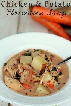 Chicken and Potato Florentine Soup. This was sooo good!! Recipe on { lilluna.com } #soup