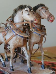 German twin horse pull toy, circa 1890.