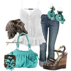Turquoise and Chocolate, created by cynthia335 on Polyvore