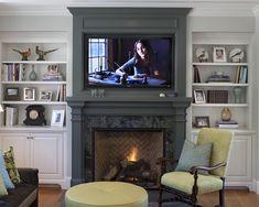 built-ins, fireplace, tv