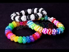 Rainbow Loom GUMDROP Bracelet (Advanced). Designed and loomed by Rob at justinstoys with inspiration from Joyce at Yarn Journey.